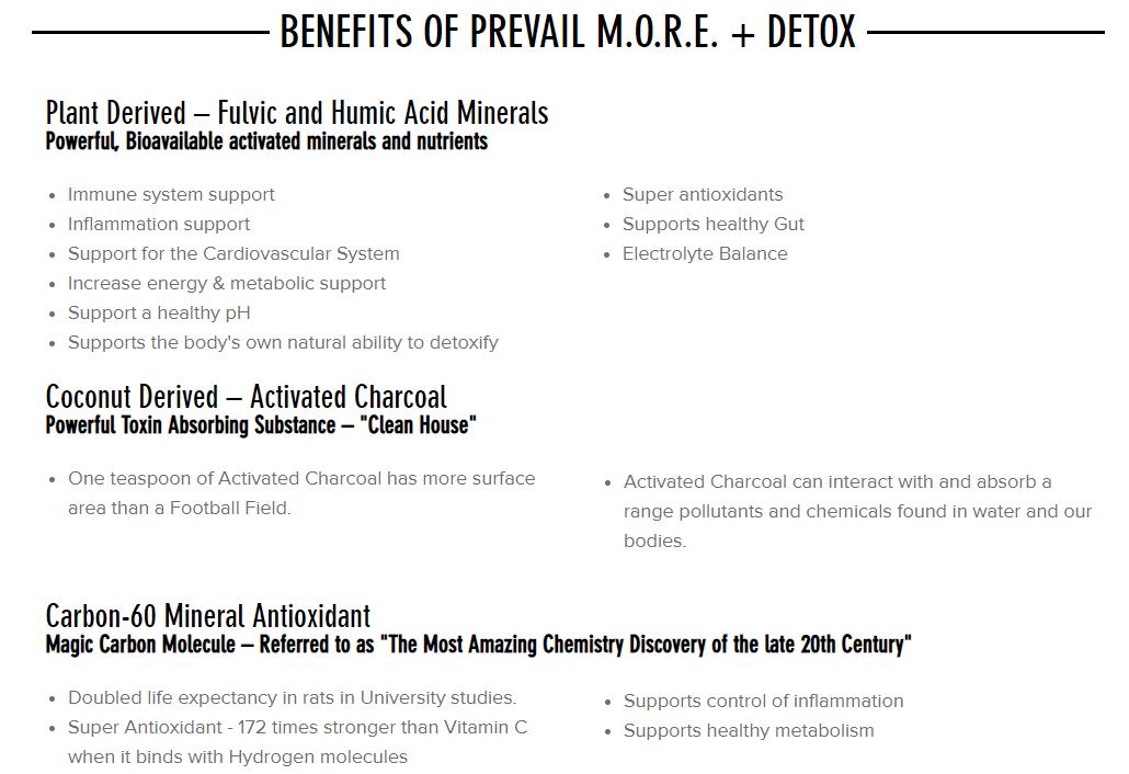 Valentus Detox M.O.R.E. benefits