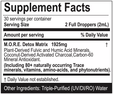 M.O.R.E. Ingredient label
