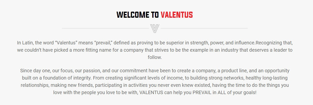 Valentus Name & Mission Statement