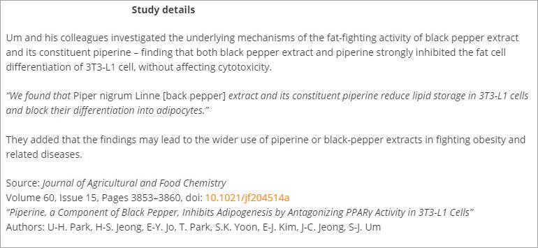 valentus thermoperk ingredient black pepper